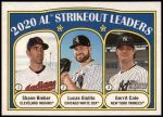 2021 Topps Heritage #96   -  Shane Bieber / Gerrit Cole / Lucas Giolito League Leaders Front Thumbnail