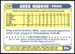 1987 Topps Traded #70 T Greg Maddux  Back Thumbnail