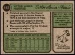 1974 Topps #157  Vic Harris  Back Thumbnail