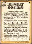 1968 Topps #348   -  Larry Colton / Dick Thoenen Phillies Rookies Back Thumbnail
