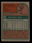 1975 Topps Mini #258  Dave LaRoche  Back Thumbnail