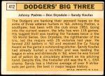 1963 Topps #412   -  Sandy Koufax / Don Drysdale / Johnny Podres Dodgers' Big 3 Back Thumbnail