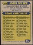 1987 Topps #443  John Felske  Back Thumbnail