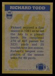 1982 Topps #182   -  Richard Todd In Action Back Thumbnail