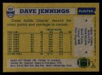 1982 Topps #424  Dave Jennings  Back Thumbnail