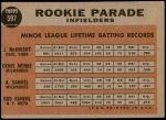 1962 Topps #597   -  Denis Menke / Amado Samuel / Rod Kanehl / Jim McKnight Rookie Parade - Infielders Back Thumbnail