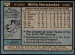 1980 Topps #472  Willie Hernandez  Back Thumbnail