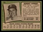 1971 Topps #710  Sonny Siebert  Back Thumbnail