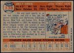1957 Topps #338  Jim Bunning  Back Thumbnail