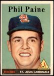 1958 Topps #442  Phil Paine  Front Thumbnail