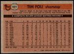 1981 Topps #501  Tim Foli  Back Thumbnail