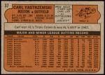 1972 Topps #37  Carl Yastrzemski  Back Thumbnail