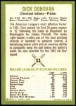 1963 Fleer #11  Dick Donovan  Back Thumbnail