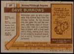 1973 Topps #27  Dave Burrows   Back Thumbnail