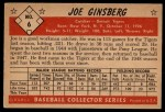 1953 Bowman #6  Joe Ginsberg  Back Thumbnail