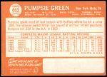 1964 Topps #442  Pumpsie Green  Back Thumbnail