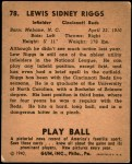 1940 Play Ball #78  Lew Riggs  Back Thumbnail