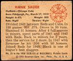 1950 Bowman #25  Hank Sauer  Back Thumbnail