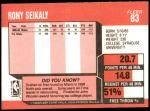 1989 Fleer #83  Rony Seikaly  Back Thumbnail