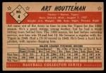 1953 Bowman #4  Art Houtteman  Back Thumbnail