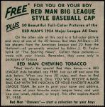 1954 Red Man #16 AL x Whitey Ford  Back Thumbnail