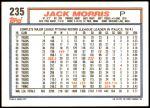 1992 Topps #235  Jack Morris  Back Thumbnail