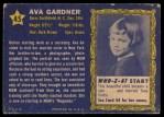1953 Topps Who-Z-At Star #45  Ava Gardner  Back Thumbnail