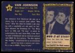 1953 Topps Who-Z-At Star #42  Van Johnson  Back Thumbnail