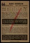 1953 Parkhurst #66  Aldo Guidolin  Back Thumbnail