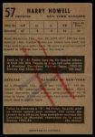 1953 Parkhurst #57  Harry Howell  Back Thumbnail