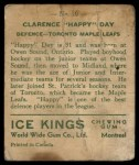 1933 World Wide Gum Ice Kings #10  Clarence Hap Day  Back Thumbnail