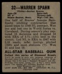 1948 Leaf #32  Warren Spahn  Back Thumbnail