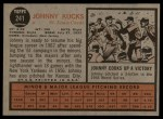1962 Topps #241  Johnny Kucks  Back Thumbnail
