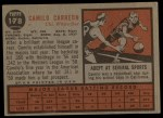 1962 Topps #178 GRN Camilo Carreon  Back Thumbnail