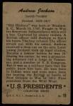 1952 Bowman U.S. Presidents #10  Andrew Jackson  Back Thumbnail