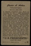 1952 Bowman U.S. Presidents #24  Chester Arthur   Back Thumbnail