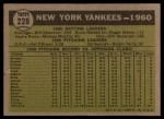 1961 Topps #228   Yankees Team Back Thumbnail