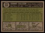1961 Topps #468  Johnny Callison  Back Thumbnail
